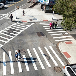 Three crosswalks forming a triangle